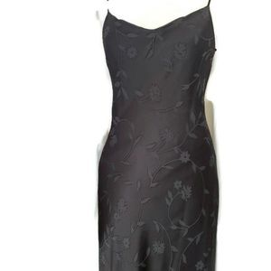Long Black Satin Slip Dress Top Layer Shear sz 10